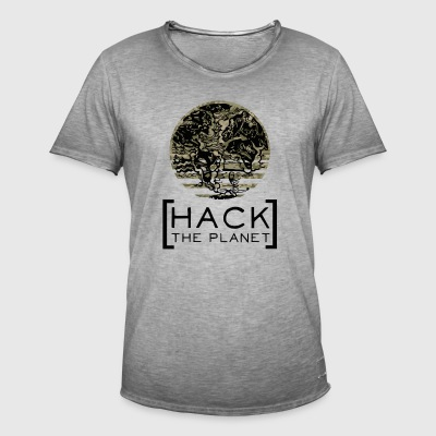 Hack the planet motto T-shirt Camouflage - Men's Vintage T-Shirt