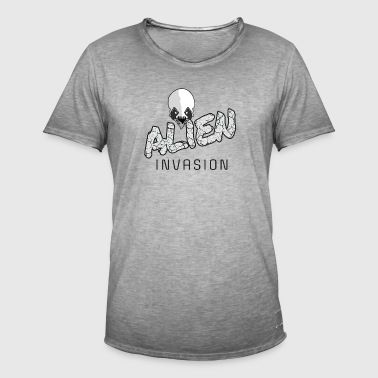 Alien Invasion - GRAY - Herre vintage T-shirt