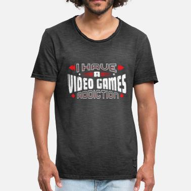 Affliction I Have A VIDEO GAMES Addiction Vintage Distressed - Men's Vintage T-Shirt