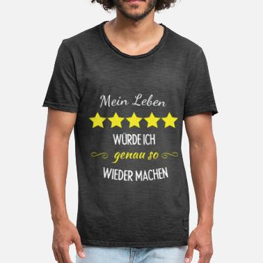 Recensie My life 5 stars Repeat pride honour saying - Mannen Vintage T-shirt