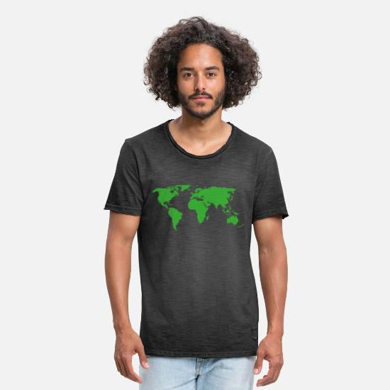 Travel T-Shirts - map of the world - Men's Vintage T-Shirt washed black