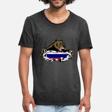 Russian Russian flag Bear Russia Russian Russian - Men's Vintage T-Shirt