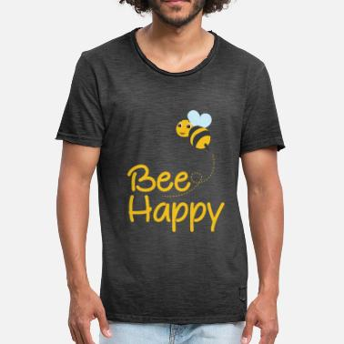 Bumble Bee Bee Happy, Bumble Bee, Bee Lover, Bumble Bee Gift - Men's Vintage T-Shirt
