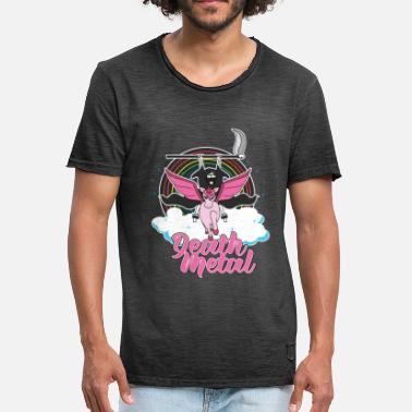 Death Metal Unicorn Death Metal Unicorn Rainbow - Men's Vintage T-Shirt