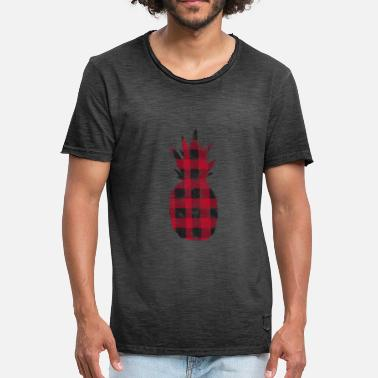 Schottenstoff Aloha Buffalo Plaid Pineapple Distressed - Camiseta vintage hombre