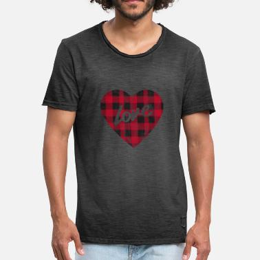 Pläd Buffalo Plaid Kärlek Vintage Distressed Heart - Vintage-T-shirt herr