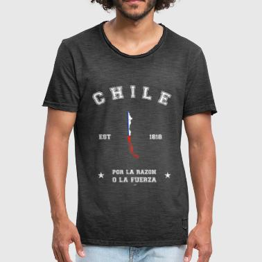 Chile vintage map with date of founding - Vintage-T-shirt herr