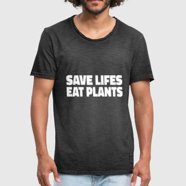 Meatless Vegan Vegetarian Meatless Save Lifes Animals - Men's Vintage T-Shirt