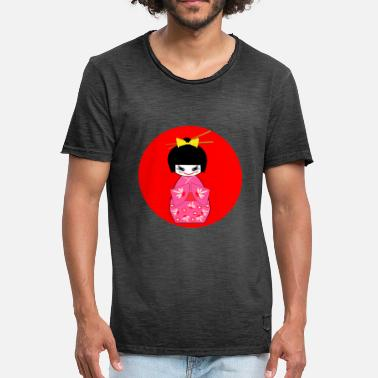 Kimono Kimono Girl Japan Japanese Japanese Pink Red - Vintage-T-shirt herr