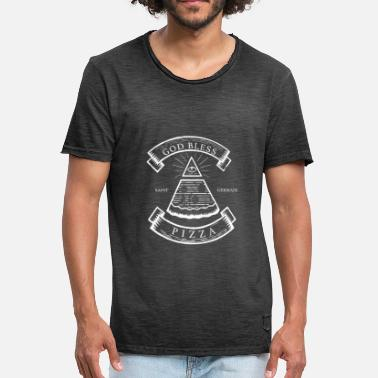 God Bless Pizza Say Freemasonry - Men's Vintage T-Shirt
