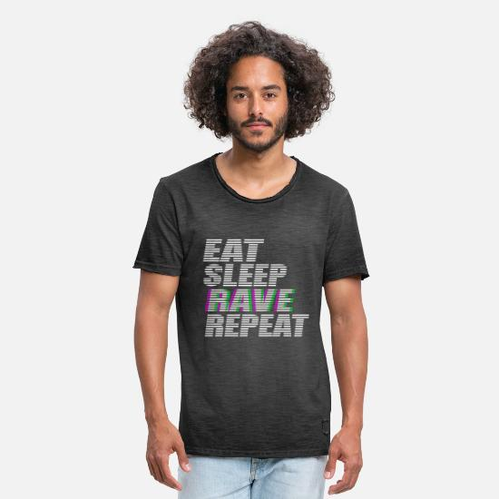 Bass T-Shirts - eat sleep rave repeat techno dj rave dubstep - Men's Vintage T-Shirt washed black