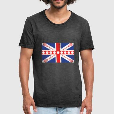 Kids Offensive UK Flag Lacrosse Gift - Men's Vintage T-Shirt