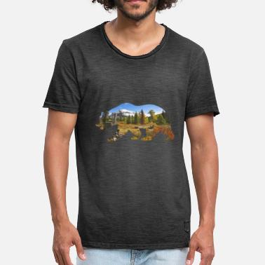 Bear autumn mountains nature animal forest tree - Men's Vintage T-Shirt