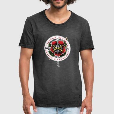 Vintage Tattoo Rose - Mannen Vintage T-shirt