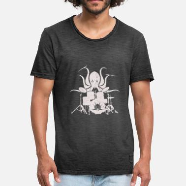 Percussions Drums Drum Octopus - Don de batteur - T-shirt vintage Homme