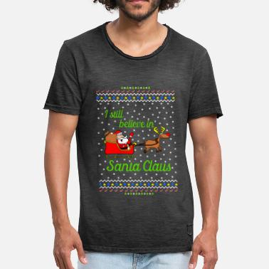 Ugly Christmas I still believe in Santa Ugly Christmas Sweater - Mannen Vintage T-shirt