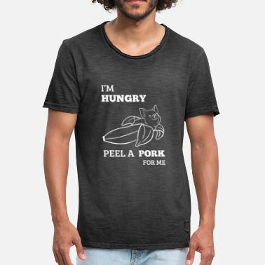 Grillking I'm Hungry Peel a Pork for me Pig BBQ Lover Banana - Men's Vintage T-Shirt