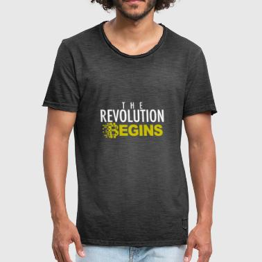 THE REVOLUTION BEGINS - Bitcoin Kryptowährung - Männer Vintage T-Shirt