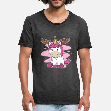 Unicorn Sports Wear Funny Cute Christmas Xmas Pink Unicorn Holiday - Men's Vintage T-Shirt