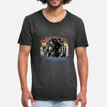 Prédateur Animal Lion prédateur animal de proie - T-shirt vintage Homme