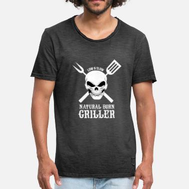 Griller Natural Born Griller, barbecue, Grill, chef - T-shirt vintage Homme