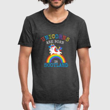 Daddy Gay Unicorns are born in Scotland.Scottish Unicorn Kid - Men's Vintage T-Shirt