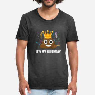 Its My Birthday Zijn My Birthday Poop Emoticon - Mannen Vintage T-shirt