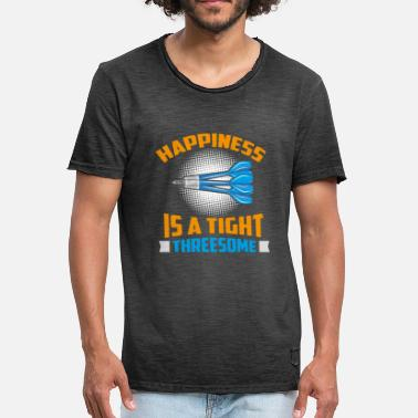 Threesome Quote Happiness Is A Tight Threesome Dart Fun Gift - Men's Vintage T-Shirt