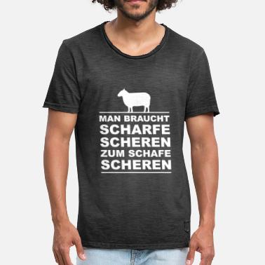 Shearing Sheep - sharp shears - Men's Vintage T-Shirt