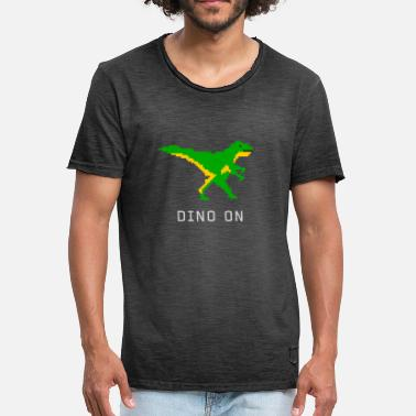 Pixel Pc dino dinosaur game Pixel Nerd pc tyranosaurus r - Men's Vintage T-Shirt