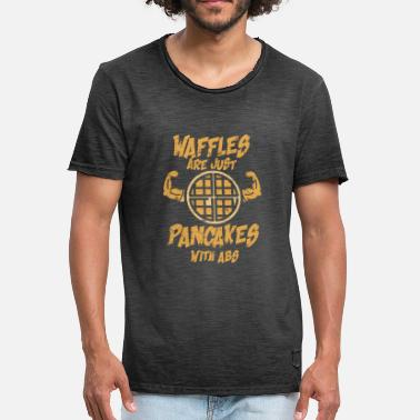 6-pack Waffles are just pancakes with abs 6 pack gift - Men's Vintage T-Shirt