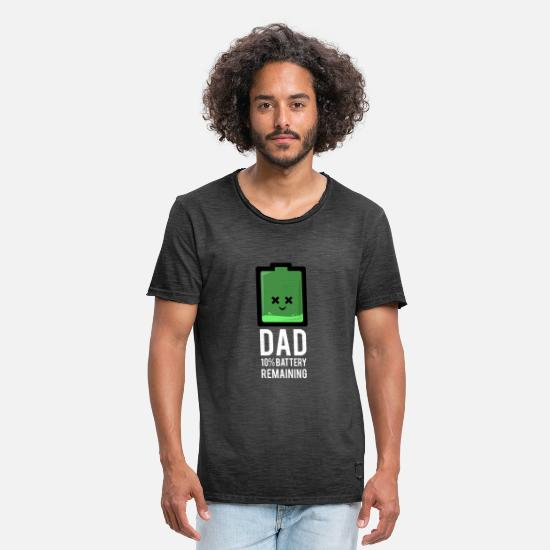 Dad T-Shirts - Dad 10% Battery Remaining - Men's Vintage T-Shirt washed black
