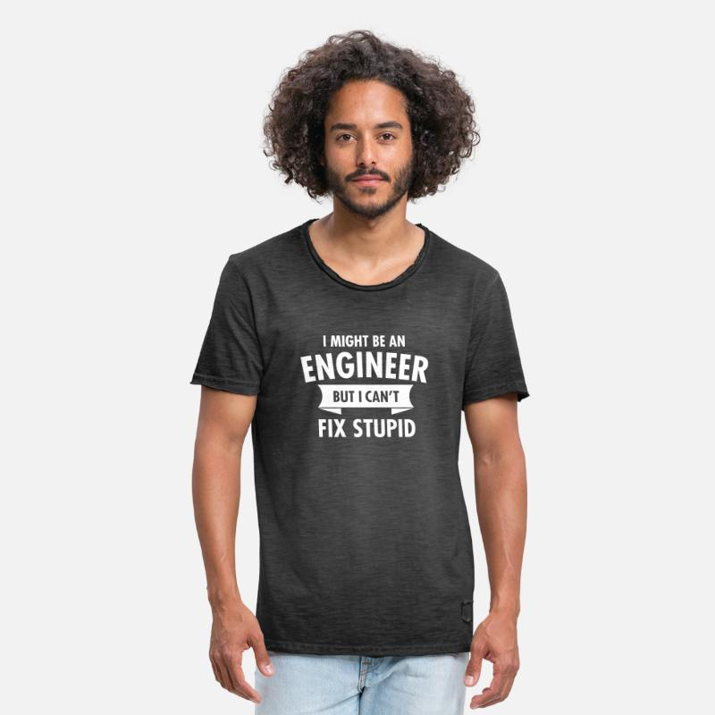Funny T-Shirts - Geek Engineer Can't Fix Stupid Ingenieur - Men's Vintage T-Shirt washed black