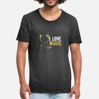 Dj Earphones I love music - earphone gift idea - Men's Vintage T-Shirt