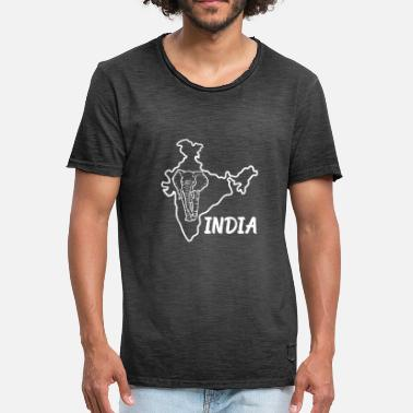 Bengaluru Indien Country Map And Elephant - Vintage-T-shirt herr