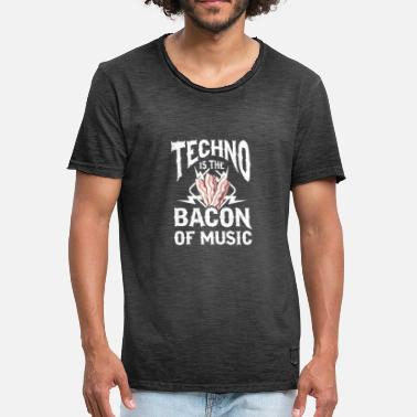 Subwoofer Techno är Bacon of Music bas subwoofer frukost - Vintage-T-shirt herr
