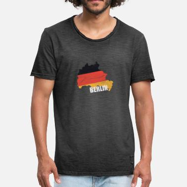 Berlinois Berlin Allemagne drapeau conception de cartes T-shirt - T-shirt vintage Homme