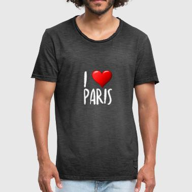 I Love Paris - Mannen Vintage T-shirt