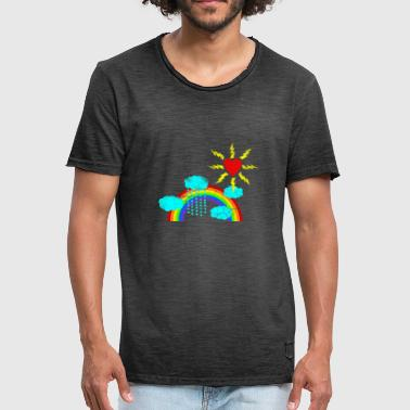 Naive art with rainbow vintage - Men's Vintage T-Shirt