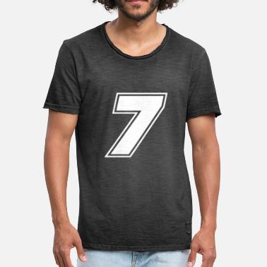 Number 7 Race number 7 white, number seven - Men's Vintage T-Shirt