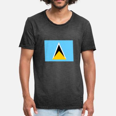 Saint Lucia Flag of Saint Lucia (lc) - Vintage T-shirt mænd
