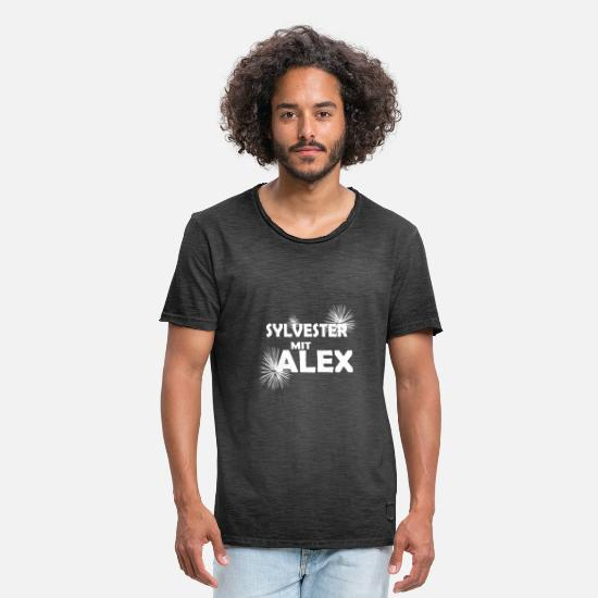 Alex T-Shirts - Sylvester Alex fireworks turn of the year - Men's Vintage T-Shirt washed black
