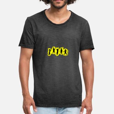 Banquet Kids Party Yellow and Black Outline - Men's Vintage T-Shirt