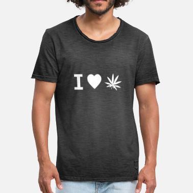 97d214a433 Ropa Fumar Me encanta la marihuana Me encanta la ropa de cannabis 420  cáñamo - Camiseta. Camiseta vintage hombre