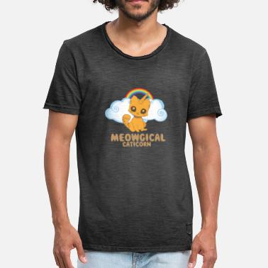 Pegasus Funny Meowgical Caticorn - Funny Caticorn Cat - Vintage-T-skjorte for menn