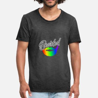 Gays Poilu Bearded Bearded LGBT Gay Pride Rainbow - T-shirt vintage Homme