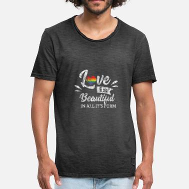 Bisexuality LGBT Gay Pride Lesbian Love is beautiful in all it's form grunge - Men's Vintage T-Shirt