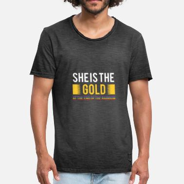 Gold Gay LGBT Gay Pride Lesbian She Is The Gold Rainbow - Men's Vintage T-Shirt