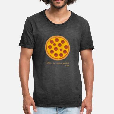 Magritte Dit is geen pizza - Mannen Vintage T-shirt