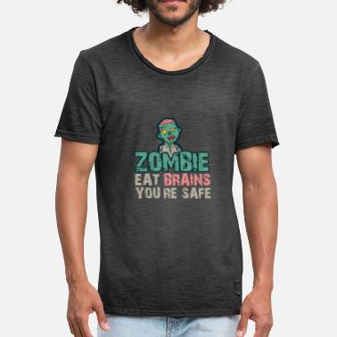 Stupid Brain Zombie brain stupidity gift security satire - Men's Vintage T-Shirt
